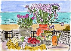 Seaside Brunch painting by Fifi Flowers