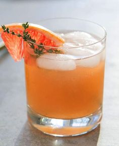 Celebration Cocktails | Whisky Thyme  Combine 3 oz. of fresh grapefruit juice, 2 oz. of Dewar's 12, and 1/2 oz. of thyme simple syrup in a cocktail shaker with ice. Shake for 30 seconds, then strain into a tumbler with ice. Garnish with a wedge of fresh grapefruit and a sprig of thyme.