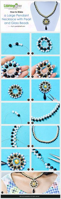 How to Make a Large Pendant Necklace with Pearl and Glass Beads