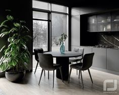 Shaping Slick Dark Interiors With Black & Grey Decor Gray Interior, Interior Design, Black Dining Set, One Wall Kitchen, Dark Living Rooms, Glass Front Cabinets, Traditional Fireplace, Modern Sectional, Dark Interiors