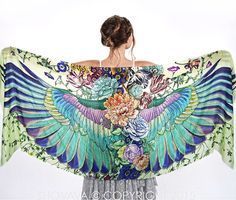 This unique bohemian Wings and Bird feathers shawl scarf features:  Wings imagery is timeless. Freedom, Elevation, Infinity, it carries a subtle, but