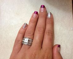 So cute I love my nails!!! Purple French tip and glitter accent nails
