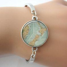 Silver New Zealand Map Bangle - Free Shipping!