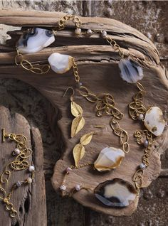 Jewelry, organic,raw crystal,gold and stones