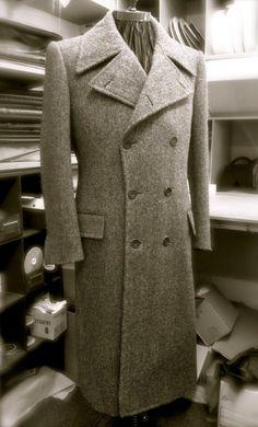 Gieves Hawkes bespoke tweed herringbone greatcoat