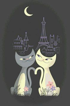 Gatinhos ao luar de Paris