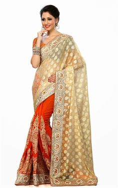 Picture of Lovable Cream andOrange Wedding Saree