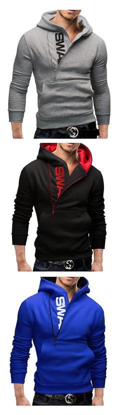 Abetteric Men Patterned Oblique Zipper Breathable Leisure Cardigan