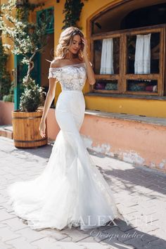 Elegant and stylish mermaid wedding gown 'Angelique' with exquisite lace details and open shoulders Boho Wedding Dress With Sleeves, White Boho Dress, Western Wedding Dresses, Modest Wedding Dresses, Perfect Wedding Dress, Designer Wedding Dresses, Elegant Wedding, Bridal Dresses, Wedding Gowns