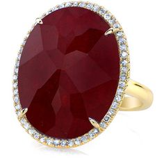 Anne Sisteron  14KT Yellow Gold Ruby Diamond Oval Cocktail Ring