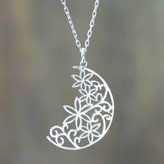 Novica Handcrafted 'Crescent Moon Bouquet' Necklace