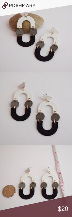 Black & White Geometric Drop Earrings Cute and versatile brass earrings. Light weight. Geometric with black and white colors. Lead and nickel compliant. Come with tags. Offers welcomed, I will counter with my lowest :) Onlo Jewelry Earrings