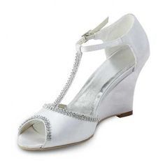 d3e31264e028 Dyeable Oomph T-strap Rhinestones Chain Peep-toe Sandals - Ivory Satin  Wedding Shoes colors)