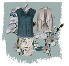 """""""Teal and Gray"""" by chauert ❤ liked on Polyvore featuring River Island, Pleats Please by Issey Miyake, SJP, Valentino and Ippolita"""