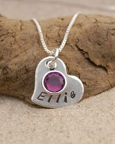 #Heart #love  A personal favorite from my Etsy shop https://www.etsy.com/listing/249207444/girls-necklace-birthstone-jewelry