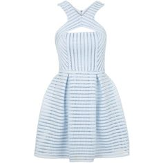 TOPSHOP Airtex Mesh Skater Dress ($105) ❤ liked on Polyvore featuring dresses, pale blue, cut out skater dress, skater dress, mesh cut-out dress, party dresses and cocktail party dress