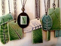 Leaf necklaces by Evelyn Taylor Designs Porcelain Jewelry, Ceramic Jewelry, Ceramic Beads, Clay Beads, Fine Porcelain, Polymer Clay Crafts, Polymer Clay Jewelry, Ceramic Pottery, Ceramic Art