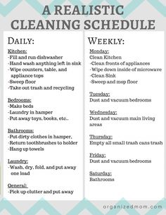 A Realistic Cleaning Schedule You Can Stick With - The Organized Mom Looking for a realistic cleaning schedule that you can actually stick with? Look no further! Check out our tips for keeping on top of cleaning, broken into daily and weekly tasks. Household Cleaning Tips, Deep Cleaning Tips, Toilet Cleaning, House Cleaning Tips, Spring Cleaning, Cleaning Hacks, Cleaning Schedules, Daily Cleaning, Chore Schedule