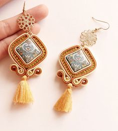 Soutache earrings with lava stones & tassel nappa handmade in Quilling Jewelry, Diy Jewelry, Beaded Jewelry, Jewelery, Handmade Jewelry, Jewelry Making, Soutache Necklace, Lace Earrings, Pearl Chain