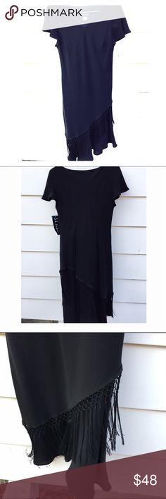 TODAY ONLY NWT black fringe dress ⚫️FRINGE⚫️ Sz 10. NWT. S.L.fashions   Fringe dress Dresses Midi