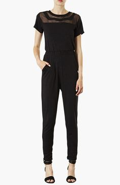 Topshop Mesh Panel Jumpsuit available at #Nordstrom