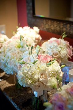 Blush and bright wedding - bouquets