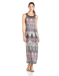 Sandra Darren Women's Sleeveless Printed Maxi Dress with Belt * Special  product just for you. See it now! : Dresses for women