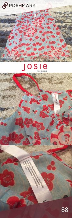Josie Natori Sheer Red & Blue Floral PJ Tank Josie Natori Sheer Red & Blue Floral PJ Tank. 12.5 inch elastic empire waist. 14.5 inch bust. 23 inches long. PJ top but could make an good swim cover up too. Great condition. Feel free to make an offer. Josie Natori for Target Intimates & Sleepwear Pajamas