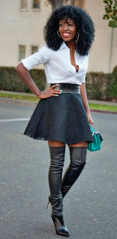 Black Full Lace Skater Skirt stylepantry.com