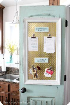 Keep organized with a magnetic board hung on the back of a door and prevent paper pile-ups.