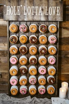'Hole' Lotta Love for the donut wall at the reception. Photographer: 'Hole' Lotta Love for the donut wall at the reception. Wedding Donuts, Wedding Sweets, Wedding Favors, Wedding Invitations, Wedding Ideas, Wedding Prep, Wedding Stuff, Wedding Cakes, Wedding Flowers