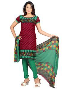 Crepe Printed Red Unstitched Churidar Suit#Anarkali - #SalwarKameez -#Clothing #Fashion #Dress #StayTrendyWithIndiaRush