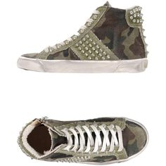 Leather Crown Sneakers ($88) ❤ liked on Polyvore featuring shoes, sneakers, military green, round cap, olive green shoes, multi color sneakers, colorful sneakers and round toe sneakers