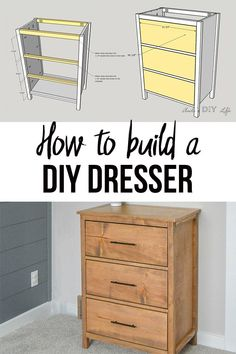 How to build an easy and simple DIY dresser for beginner woodworkers! Learn to build a basic DIY dresser for cheap using basic lumber with the full tutorial and plans. #AnikasDIYLife #woodworking #dresser Diy Furniture Plans Wood Projects, Easy Woodworking Projects, Woodworking Furniture, Woodworking Plans, Woodworking Chisels, Rustic Furniture, Japanese Woodworking, Furniture Nyc, Popular Woodworking