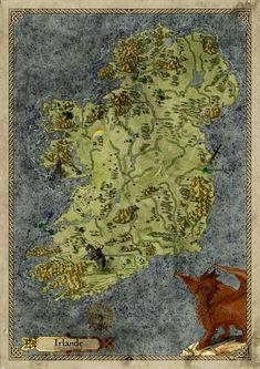Carte de l'Irlande pour jeux de rôle médiéval fantastique dans un contexte historique Maps, Artwork, Ireland, History, Gaming, Work Of Art, Blue Prints, Auguste Rodin Artwork, Artworks