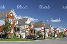 Modern Brick Home Neighborhood royalty-free stock photo