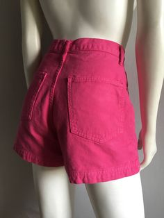 Vintage Women's 80's Hot Pink, Jean Shorts, High Waisted by Hot Kiss (M) by Freshandswanky on Etsy