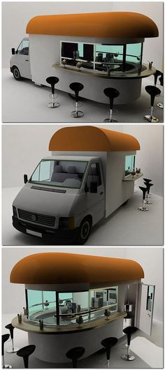 Mobile Coffee Shop. I really think this is a fantastic idea, and sometimes I wish I drove around in a big Starbucks van. Design by Daniel Milchtein.