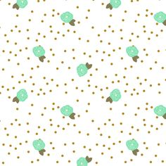 Scattered rose bud turquoise fabric by >>mintpeony<< on Spoonflower - custom fabric