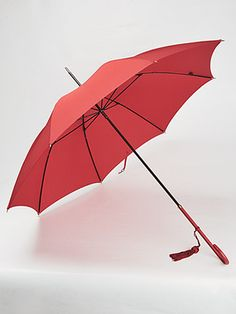 British, Handmade, luxury, Fox Umbrella for Women in Bright Vivid Red with Red Leather Handle.£108.00