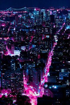 vaporwave city Neon New York // Scott Norsworthy City Wallpaper, Purple Wallpaper Iphone, Wallpaper Desktop, Blue Ridge Mountains, Purple Aesthetic, Night Aesthetic, Aesthetic Outfit, Aesthetic Dark, Aesthetic Gif