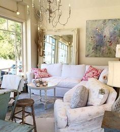 68 Beautiful White Shabby Chic Living Room Decoration Ideas - Page 8 of 68 Shabby Chic Apartment, Shabby Chic Living Room, Shabby Chic Interiors, Shabby Chic Bedrooms, Shabby Chic Furniture, Shabby Chic Decor, Living Room Decor, Living Rooms, Apartment Living