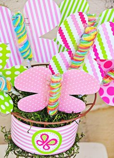 Bright Pink & Green Butterfly Party Ideas with garden party decorations, pink lemonade nectar, polka dot favors bags and giant tissue paper flowers!
