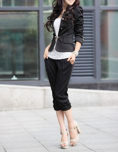 Ladylike Style Bow Tie Puff Sleeves Solid Color Polyester Double-Breasted Blazer For Women (BLACK,M)   Sammydress.com