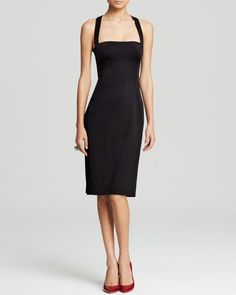 A simple square neckline plus a crisscross back complete this ever-chic Lbd from Black Halo. | Self: polyamide/viscose/spandex; lining: polyester/spandex | Dry clean | Made in USA | Square neck, sleev