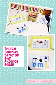 Initial sound game on the phonics table