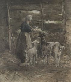 Anthonij 'Anton' Mauve (Zaandam 1838-1888 Arnhem) Geiten voeren - Kunsthandel Simonis en Buunk, Ede (Nederland).