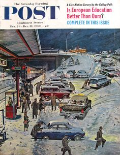 Original December 24-30, 1960 Saturday Evening Post Magazine Cover  Commuter Station Snowed In was painted by Ben Prins, a frequent cover artist