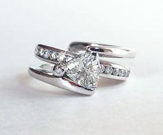 Trillion Diamond Modern Wedding Ring Set - Ambrosia