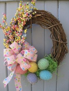 Easter Egg Wreath Celebrate Easter and Spring with our adorable Easter Egg Wreath! We started with a grapevine wreath base and nested faux Easter Projects, Easter Crafts, Easter Decor, Easter Ideas, Easter Centerpiece, Bunny Crafts, Wreath Crafts, Diy Wreath, Grapevine Wreath